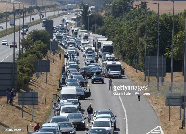 Queues for the Eurotunnel in Folkestone, Kent, stretch back towards the M20 motorway as passengers using the cross-Channel services were warned of...