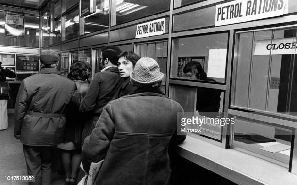 Queues in Hanover Street Post Office Liverpool for petrol coupons 29th November 1973