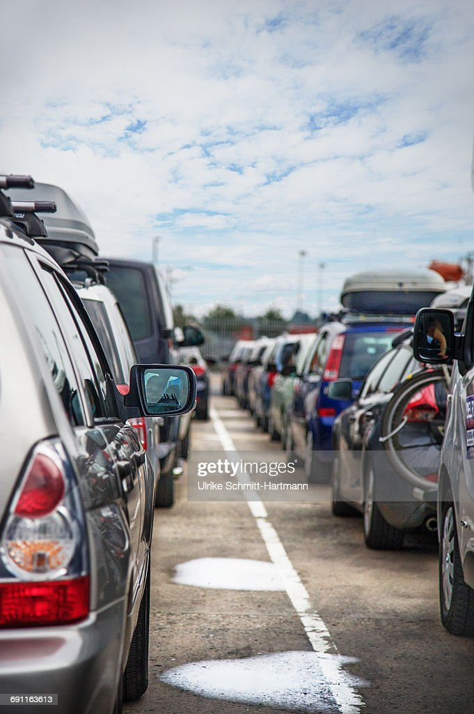 Queues of cars on lanes : Stock Photo