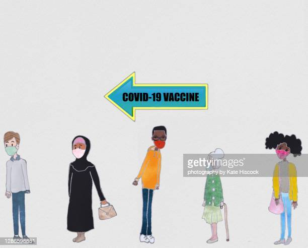 queuing for the coronavirus vaccine - covid 19 vaccine stock pictures, royalty-free photos & images