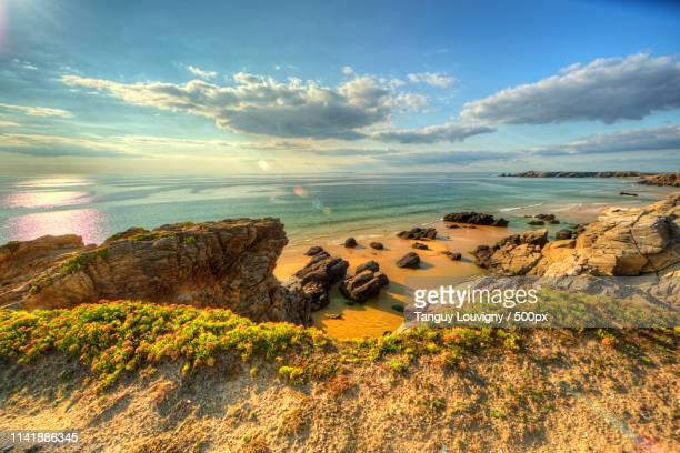 quiberon shoreline - golfe du morbihan photos et images de collection