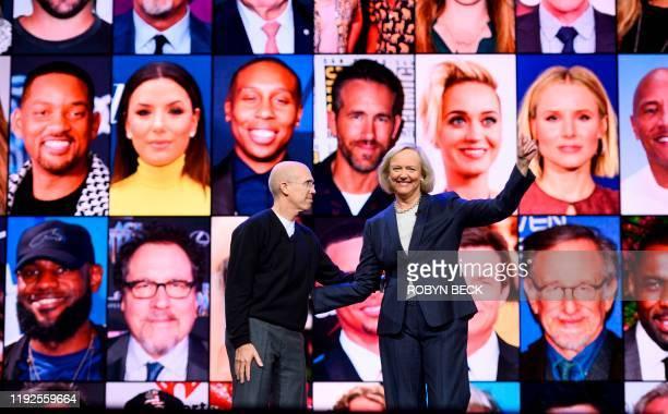 Quibi CEO Meg Whitman and Quibi founder Jeffrey Katzenberg speak about their shortform video streaming service Quibi during their keynote address...