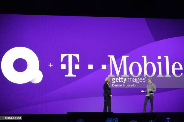Quibi CEO Meg Whitman and T-Mobile President and COO Mike Sievert speak on stage at CES at the Park Theater in Park MGM on January 08, 2020 in Las...