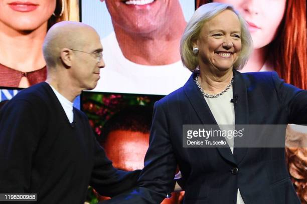 Quibi CEO Meg Whitman joins Quibi Founder Jeffrey Katzenberg on stage at CES at the Park Theater in Park MGM on January 08 2020 in Las Vegas Nevada
