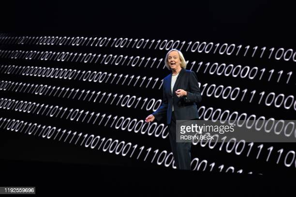 Quibi CEO Meg Whitman speaks about the shortform video streaming service for mobile Quibi during a keynote address January 8 2020 at the 2020...