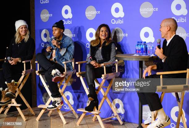 Quibi creators Kaitlin Olson Lena Waithe and Veena Sud attend a conversation with Quibi's founder Jeffrey Katzenberg at Sundance 2020 on January 24...