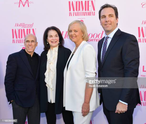 Quibi founder Jeffrey Katzenberg entertainment executive Sherry Lansing Quibi CEO Meg Whitman and entertainment journalist Matthew Belloni attend The...