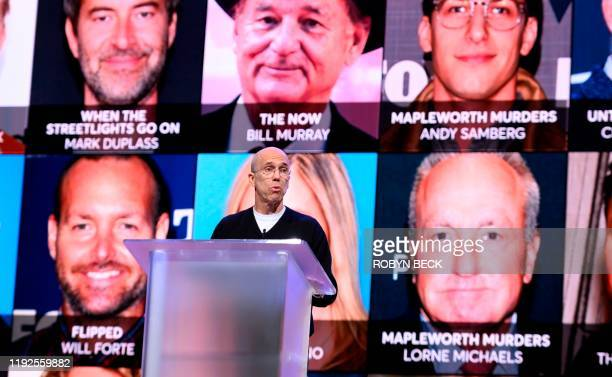 Quibi founder Jeffrey Katzenberg speaks about the shortform video streaming service for mobile Quibi during a keynote address January 8 2020 at the...