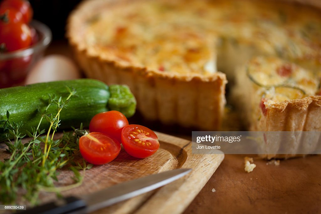 Quiche Lorraine in kitchen : Stock Photo