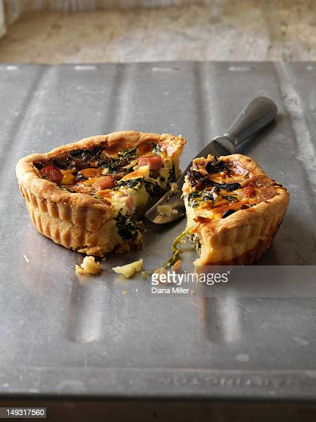 Quiche on metal tray