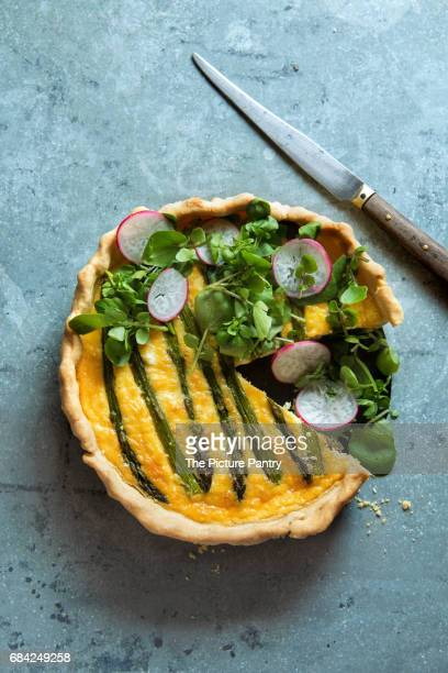 quiche with asparagus,chicken,feta cheese and watercress radish salad - savoury food stock photos and pictures
