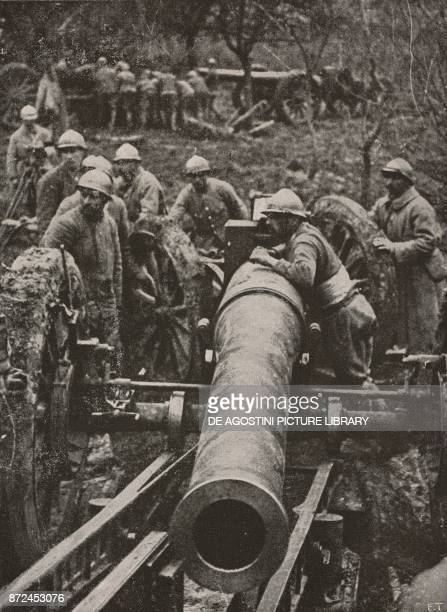 A quick fire 155 mm piece of the French artillery Spring Offensive World War I from L'Illustrazione Italiana Year XLV No 19 May 12 1918