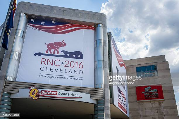 Quicken Loans Arena is decorated to welcome the Republican National Convention on July 11 2016 in Cleveland Ohio The convention will be held at the...
