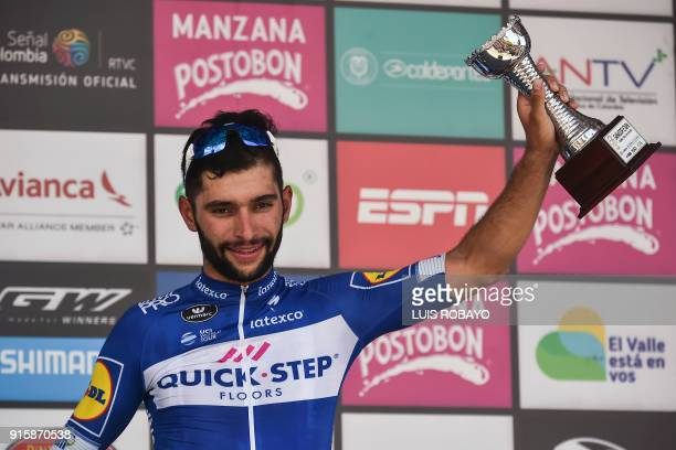 QuickStep Floors' Team Colombian cyclist Fernando Gaviria celebrates on the podium after winning the third stage of the 'Colombia Oro y Paz 21'...