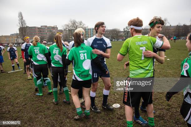 Quidditch players from the Keele Squirrels and the Radcliffe Chimeras congratulate each other at the end of a game during the Crumpet Cup quidditch...