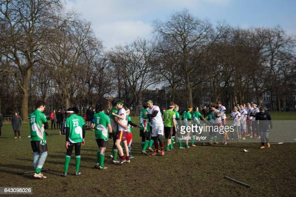 Quidditch players from the Keele Squirrels and the Werewolves of London congratulate each other at the end of a game during the Crumpet Cup quidditch...