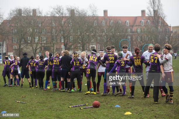 Quidditch players from the London Unspeakables and the Werewolves of London congratulate each other at the end of a game during the Crumpet Cup...