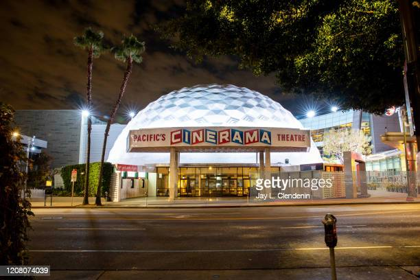 Quiet and empty Cinerama Dome of the ArcLight Cinemas, on Sunset Boulevard, in Hollywood, CA, March 20, 2020.