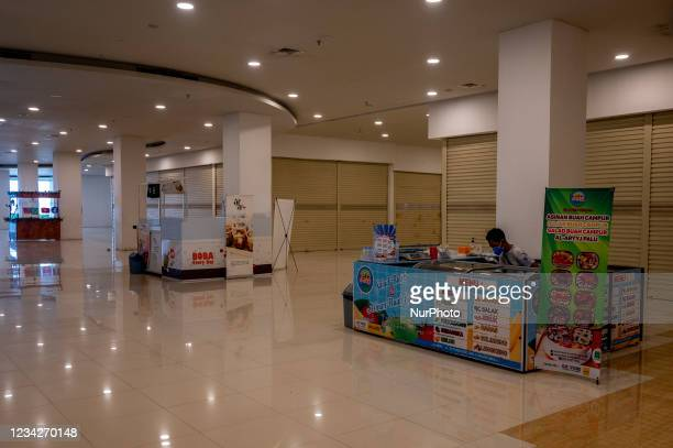 Quiet atmosphere in a shopping center in Palu City, Central Sulawesi Province, Indonesia on July 28, 2021. To reduce the spread of the corona virus,...