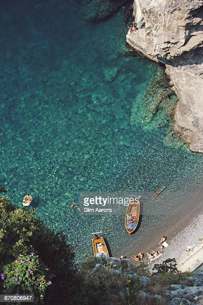 A quiet bay in Conca dei Marini on the Amalfi coast in Italy August 1984
