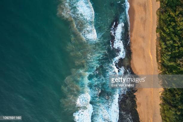 quiet coastline beach with no people. there is a great flow of contrast between the ocean, the beach and the belt of green bush. tongaat huletts, sibaya, durban, kwazulu natal, south africa - durban beach stock photos and pictures