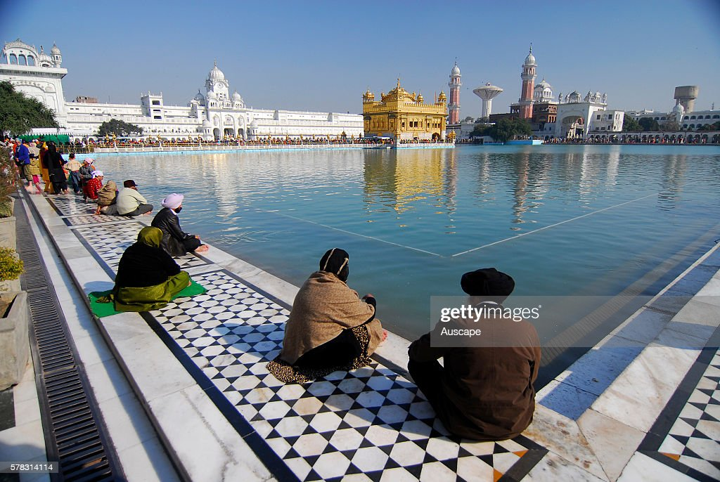 Quiet contemplation at the side of the holy lake Sarovar looking at the Harmandir Sahib informally known as the Golden Temple one of the holiest...