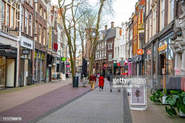 Quiet Diezestraat shopping street in the city center of Zwolle after the Dutch government announced new measures for prevention of spreading of the...