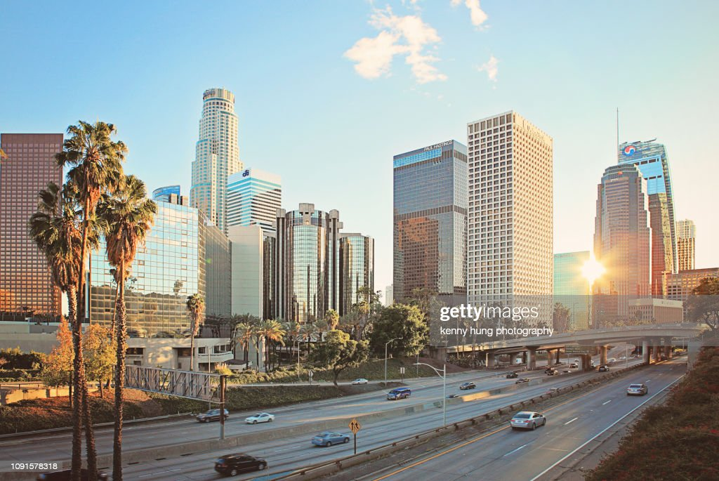 A quiet downtown Los Angeles traffic : Stock Photo