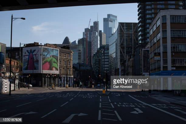 A quiet main road running through Shoreditch to the City of London on April 21 2020 in London England The British government has extended the...
