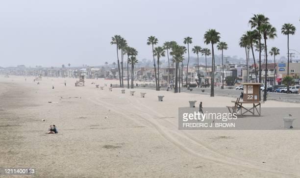 Quiet morning scene in Newport Beach, California amid the coronavirus pandemic on April 30, 2020. - California Governor Gavin Newsom announced in his...