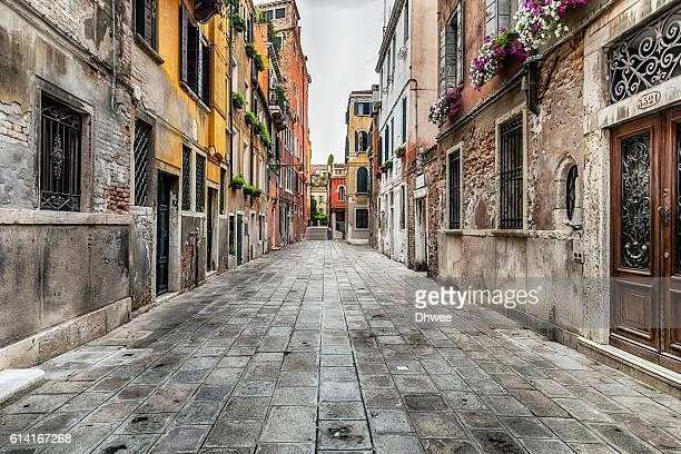 Quiet Pedestrian street and Residential Buldings In Venice In The Afternoon