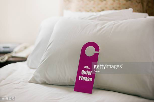 <Quiet Please> Sign on Hotel Room Bed