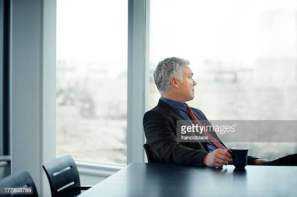quiet reflective businessman
