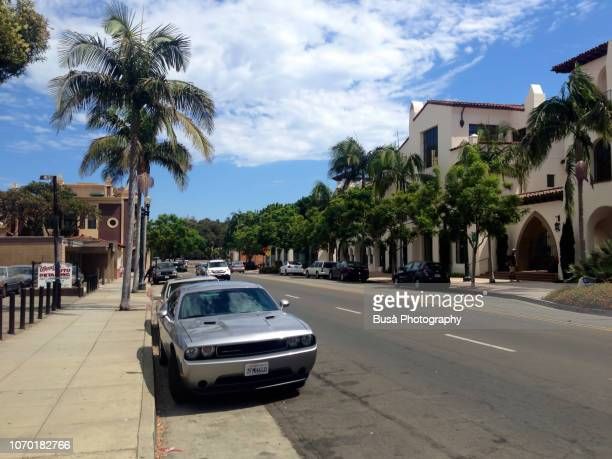 quiet residential street in santa barbara, los angeles, usa - dodge challenger stock pictures, royalty-free photos & images
