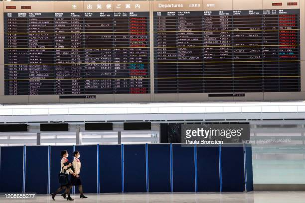 Quiet scenes at Narita International Airport on March 26, 2020 in Tokyo, Japan. Narita is one of Asias largest and busiest airports, travel...