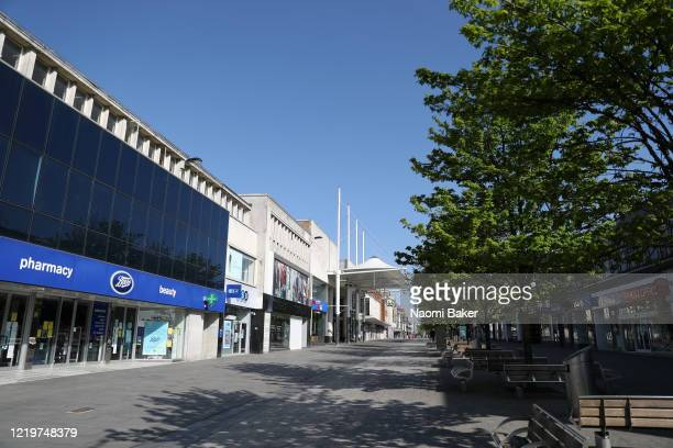 A quiet Southampton High Street is pictured as only essential stores are open due to the current coronavirus pandemic on April 19 2020 in Southampton...