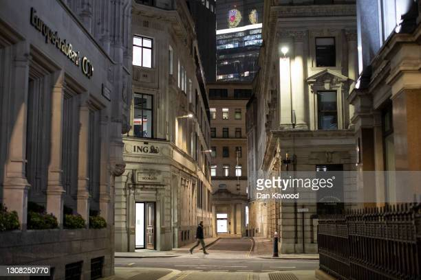 Quiet streets near the Bank of England on a Saturday evening on March 20, 2021 in London, England. A year since the British government issued its...