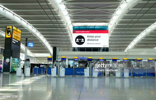 A quiet Terminal 5 departure hall at Heathrow Airport on April 15 2020 in London United Kingdom The airport expects 90% fewer passengers compared to...