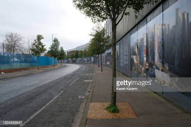 A quiet view of the Cupar Way which runs between the peace line dividing the Protestant and Catholic communities on October 30 2019 in Belfast United...