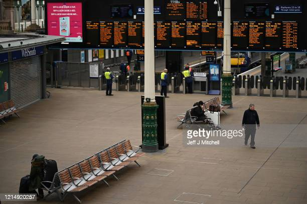 A quiet Waverley Station as people are asked to socially distance themselves amid the coronavirus outbreak on March 26 2020 in Edinburgh Scotland...