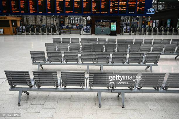 A quieter than usual Glasgow Central station amid the coronavirus outbreak on March 25 2020 in Glasgow Scotland First Minister of Scotland Nicola...