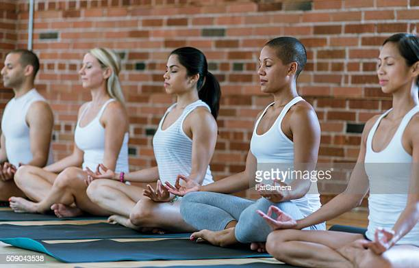 quietly meditating in a yoga class - five people stock pictures, royalty-free photos & images