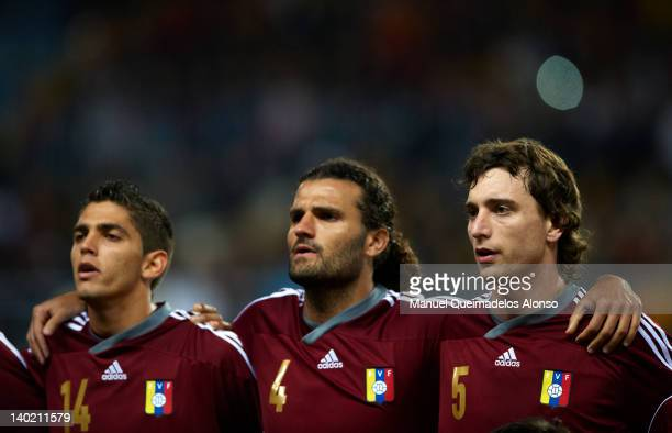 Quijada Vizcarrondo and Amorebieta of Venezuela look on prior to the start of the international friendly match between Spain and Venezuela at La...