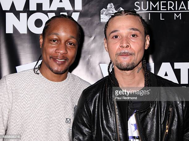 Quik and rapper Bizzy Bone attend What Now Los Angeles Film Premiere at Laemmle Music Hall on March 10 2015 in Beverly Hills California
