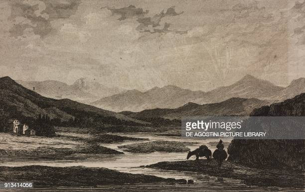 Quile river valley Chile engraving by Petit from Chili Paraguay BuenosAyres by Cesar Famin Patagonie TerreduFeu e Archipel des Malouines by Frederic...