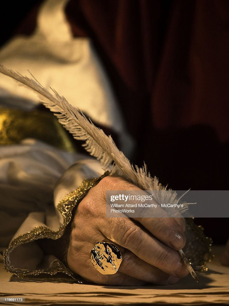 Quill and Signet Ring : Stock Photo