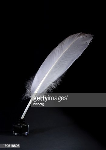 Quill Pen And Ink Pot On Black Background Stock Photo ... Quill And Ink Pot