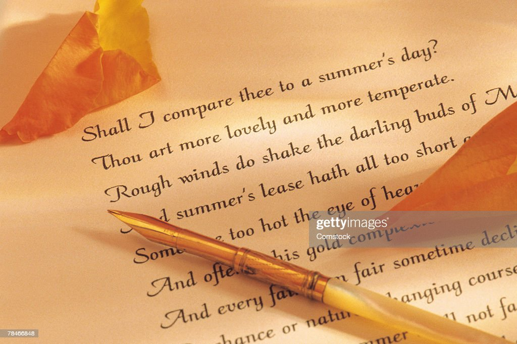 Quill pen and poetry with rose petals : Stock Photo