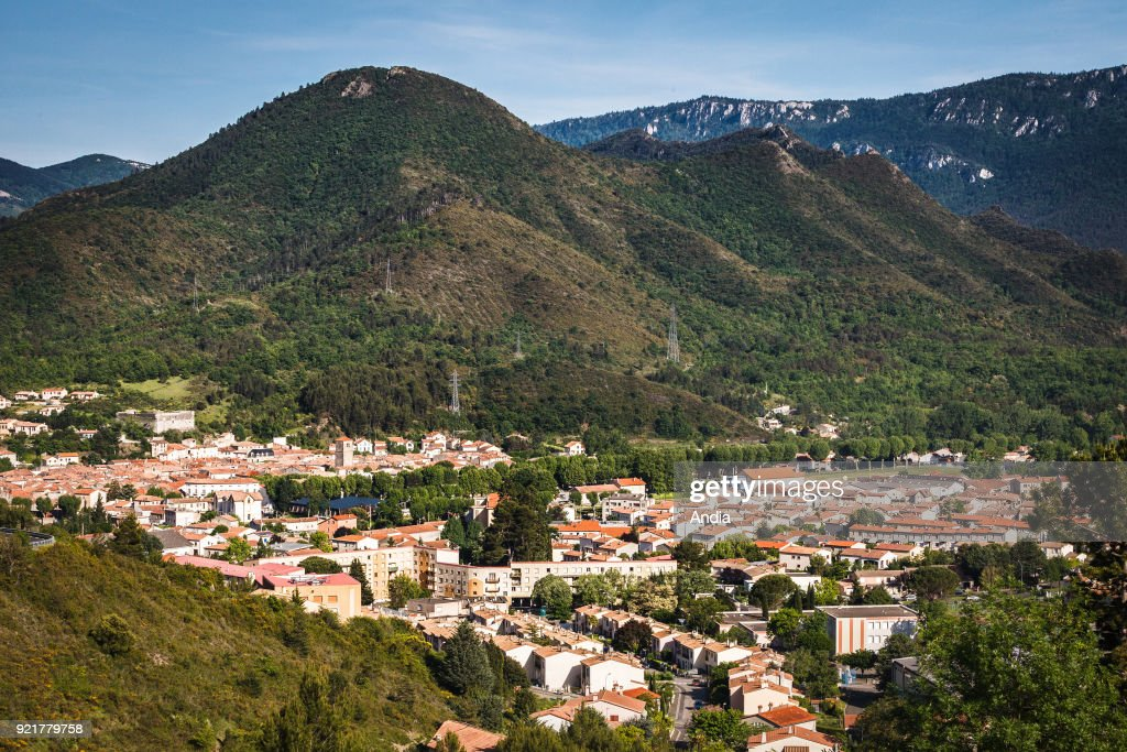Quillan (south of France), May 2015. The town viewed from the overhanging B-road D117.