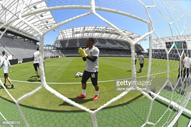 Quillan Roberts of the Los Angeles FC practices for the first time on the field at the Banc of California Stadium on April 18 2018 in Los Angeles...
